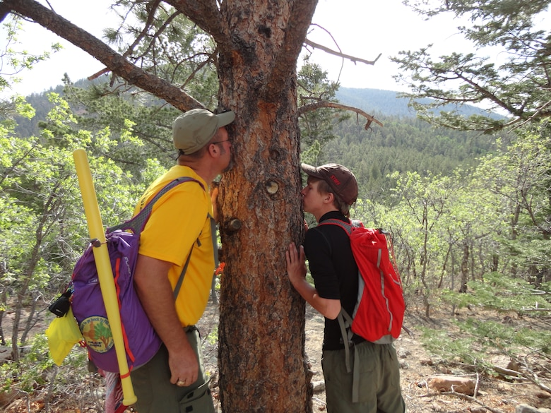 The woods are a great place to learn something new. USACE Park Ranger David Quebedeaux shares with Eagle Scout Brian Ricketson one of the descriptive features of a ponderosa pine tree—the sweet vanilla smell of the bark—during a hike at the Philmont Scout Ranch in New Mexico, June 12, 2013.