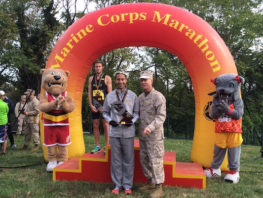 Coast Guard LT Patrick Fernandez, Yorktown, VA competes with the All-Navy Marathon Team with a time of 2:22:52 finishes 2nd overall at the Marine Corps Marathon and places 1st in the Armed Forces Marathon Mens Championship