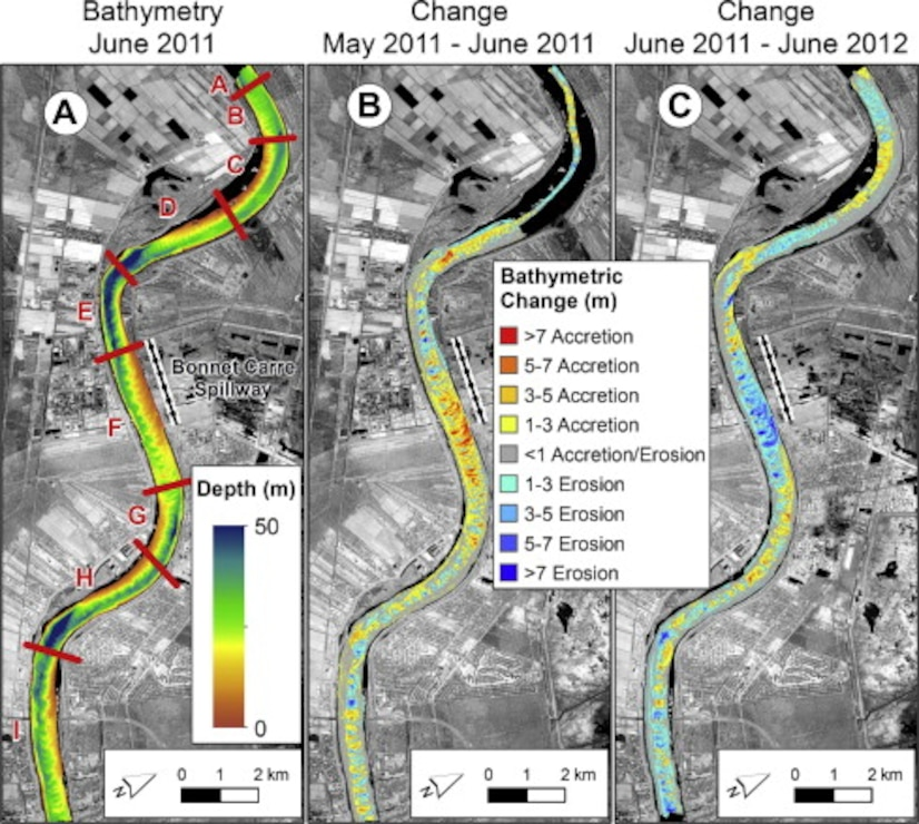 Understanding how the Mississippi River responds to the operation of the Bonnet Carre' Spillway, can help us learn about potential effects of large diversions of the river.  Panel A shows the bathymetry before the spillway is opened during May of 2011.  Panel B shows deposition of over 21 feet in the channel immediately after the diversion was closed 42 days later.  Panel C indicates that a majority of the deposited sediment moved out of the study area within one year of the event.