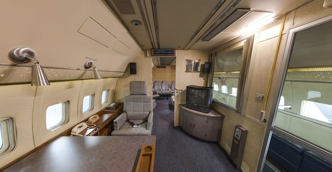 DAYTON, Ohio -- Presidential private suite, looking towards the State Room of Boeing VC-137C SAM 26000 (Air Force One) at the National Museum of the U.S. Air Force. This photo is part of the free ACI Cockpit360º app, which features high-definition panoramic photos of more than 20 cockpits from many well-known aircraft on display at the National Museum of the U.S. Air Force. (Photo courtesy of Lyle Jansma, Aerocapture Images)