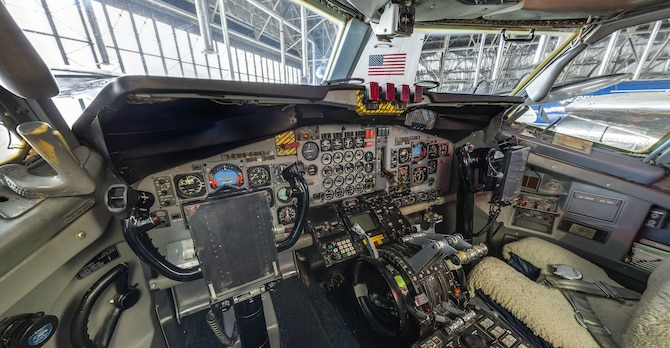 DAYTON, Ohio -- Pilot's station of Boeing VC-137C SAM 26000 (Air Force One) at the National Museum of the U.S. Air Force. This photo is part of the free ACI Cockpit360º app, which features high-definition panoramic photos of more than 20 cockpits from many well-known aircraft on display at the National Museum of the U.S. Air Force. (Photo courtesy of Lyle Jansma, Aerocapture Images)