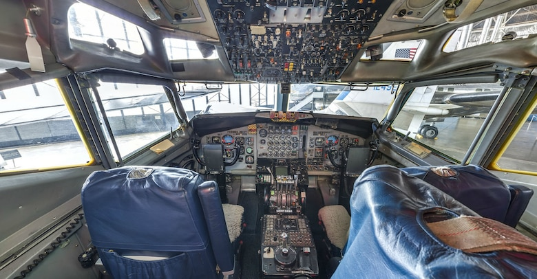 DAYTON, Ohio -- Flight deck view of Boeing VC-137C SAM 26000 (Air Force One) at the National Museum of the U.S. Air Force. This photo is part of the free ACI Cockpit360º app, which features high-definition panoramic photos of more than 20 cockpits from many well-known aircraft on display at the National Museum of the U.S. Air Force. (Photo courtesy of Lyle Jansma, Aerocapture Images)