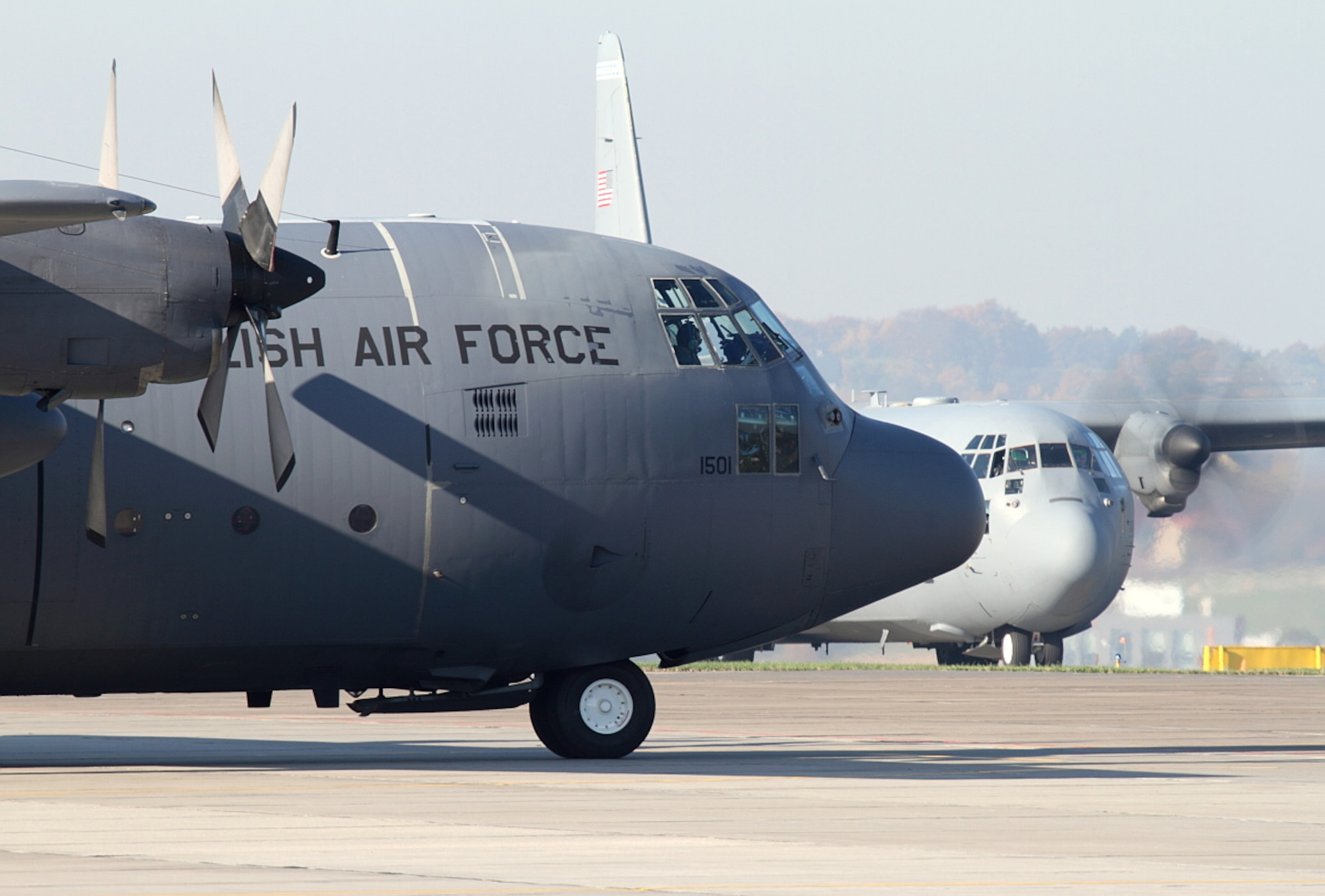 A C-130J Super Hercules prepares for takeoff during the first-ever Joint Precision Air Drop System (JPADS) delivery in the U.S. European Command region during the bilateral theater security cooperation event, Aviation Detachment Rotation Oct. 23, 2013.
