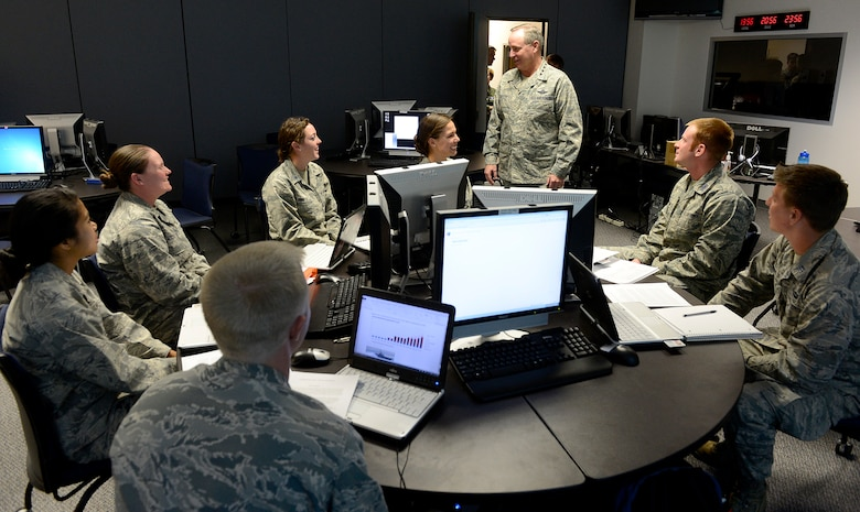 "Air Force Chief of Staff Gen. Mark A. Welsh III speaks with cadets during a Military Strategic Studies 415 class Oct. 28, 2013, U.S. Air Force Academy, Colorado Springs, Colo. Welsh, along with Chief Master Sgt. of the Air Force James A. Cody, visited with cadets Oct. 28 and 29. Welsh also hosted a cadet call, met with cadets over lunch and teamed with Cody to answer questions during ""Stars and Chevrons,"" a show on the cadet-run radio station, KAFA 97.7 FM."