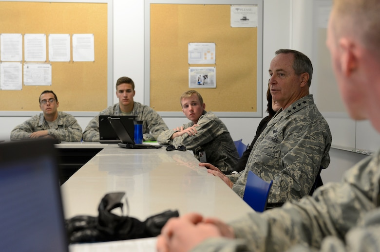 "Air Force Chief of Staff Gen. Mark A. Welsh III speaks with cadets during a Behavioral Science 310 class Oct. 28, 2013, U.S. Air Force Academy, Colorado Springs, Colo. Welsh, along with Chief Master Sgt. of the Air Force James A. Cody, visited with cadets Oct. 28 and 29. Welsh also hosted a cadet call, met with cadets over lunch and teamed with Cody to answer questions during ""Stars and Chevrons,"" a show on the cadet-run radio station, KAFA 97.7 FM."