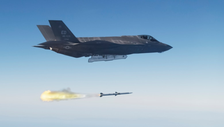 An F-35A Lightning II executed its first live-fire launch of a guided air-to-air missile over a military test range off the California coast on Oct. 30.