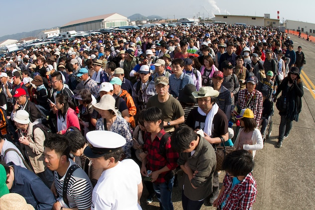 The crowd gathers at the front gate to get into Friendship Day aboard MCAS Iwakuni, Japan, May 5, 2012. Friendship Day is an annual event aboard the station, which attracted more than 285,000 people, to officially celebrate the long-standing friendship between the U.S. and Japan.