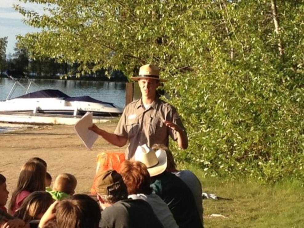 Park Ranger Andrew Huddleston Presenting an Interpretive Program at Springy Point Recreation Area