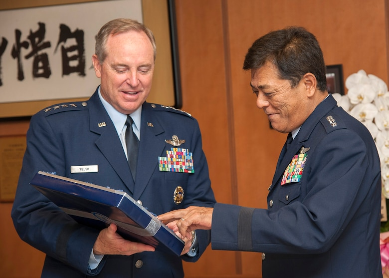 Air Force Chief of Staff Gen. Mark A. Welsh III meets with Gen. Harukazu Saitoh, Japan Air Self Defense Force chief of staff, at the Ministry of Defense building in Tokyo, Japan, Aug. 26, 2013. As part of a two-week tour of the Pacific, Welsh met with military partners in Korea and Japan, as well as Airmen and their families, to discuss opportunities and challenges in the region.  (Courtesy photo/Japan Self Defense Forces)