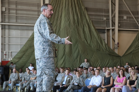 Air Force Chief of Staff Gen. Mark A. Welsh III addresses Airmen Aug. 27, 2013, at Yokota Air Base, Japan. As part of his first visit to the region as Air Force chief of staff, Welsh met with Airmen to thank them for their service but also to discuss current Air Force challenges and opportunities in the Pacific region. (U.S. Air Force photo/Osakabe Yasuo)