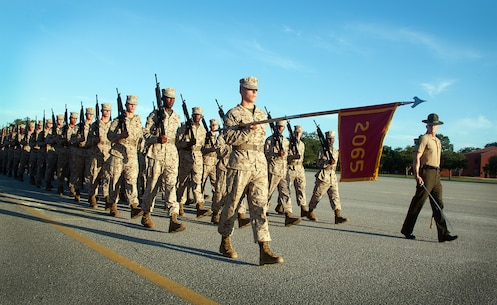 Recruits of Platoon 2065, Golf Company, 2nd Recruit Training Battalion, march in formation at the company's final drill evaluation Aug. 21, 2013, on Parris Island, S.C. Close-order drill is a key part of Marine Corps recruit training because it develops discipline, confidence, teamwork and respect for authority. Platoon 2065 is led by Sgt. Edward Sortino, 25, grew up on Parris Island. Golf Company is scheduled to graduate Aug. 30, 2013.  Approximately 20,000 recruits come to Parris Island annually for the chance to become United States Marines by enduring 13 weeks of rigorous, transformative training. Parris Island is home to entry-level enlisted training for 50 percent of males and 100 percent for females in the Marine Corps. (Photo by Lance Cpl. David Bessey)