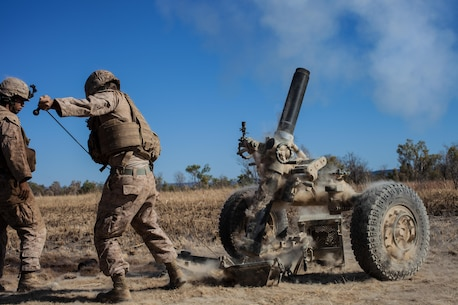 Marines with Weapons Co., Battalion Landing Team 2nd Battalion, 4th Marines, 31st Marine Expeditionary Unit, fire the Expeditionary Fire Support System, a rifled-towed 120mm mortar, during a combined, live-fire exercise for Exercise Koolendong 13 here, Sept. 3. The 31st MEU moved a battalion-sized force more than 300 miles inland from the Port of Darwin to conduct training. The exercise demonstrates the operational reach of the 31st MEU. Also participating in the exercise is the Marine Rotational Force – Darwin and soldiers of the 5th Royal Australian Regiment. The 31st MEU brings what it needs to sustain itself to accomplish the mission or to pave the way for follow-on forces. The 31st MEU is the Marine Corps' force in readiness for the Asia-Pacific region and the only continuously forward-deployed MEU.