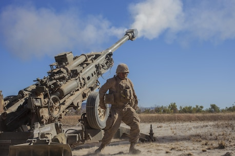 A Marine with Weapons Co., Battalion Landing Team 2nd Battalion, 4th Marines, 31st Marine Expeditionary Unit, fires the M777A2 Lightweight Howitzer during a combined, live-fire exercise for Exercise Koolendong 13 here, Sept. 3. The 31st MEU moved a battalion-sized force more than 300 miles inland from the Port of Darwin to conduct training. The exercise demonstrates the operational reach of the 31st MEU. Also participating in the exercise is the Marine Rotational Force – Darwin and soldiers of the 5th Royal Australian Regiment. The 31st MEU brings what it needs to sustain itself to accomplish the mission or to pave the way for follow-on forces. The 31st MEU is the Marine Corps' force in readiness for the Asia-Pacific region and the only continuously forward-deployed MEU.