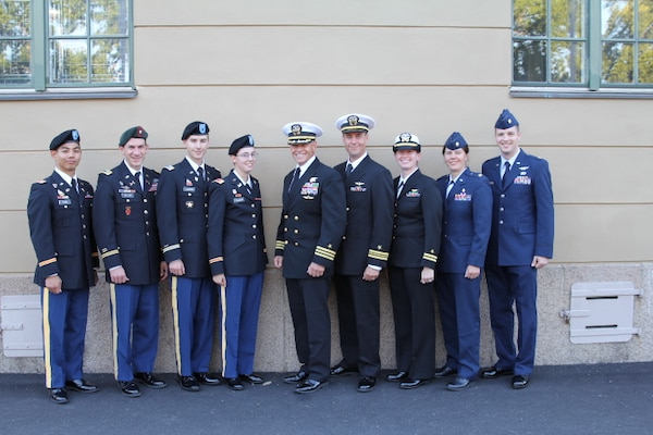 The 2013 U.S. Armed Forces Orienteering Team from Left to Right: 1LT Joshua Wang (Army), LTC Liam Collins (Army), 1LT Kevin Culberg (Army), 2LT Hannah Culberg (Army), CDR Grant Staats (Navy), LCDR Jeremy Debons (Navy), LT Virginia Debons (Navy), Maj Maiya Anderson (USAF), Maj Joseph Burkhead (USAF)at the 2013 CISM World Orienteering Military Championship hosted by the Swedish Armed Forces in Eksjo, Sweden from 26 August to 1 September.
