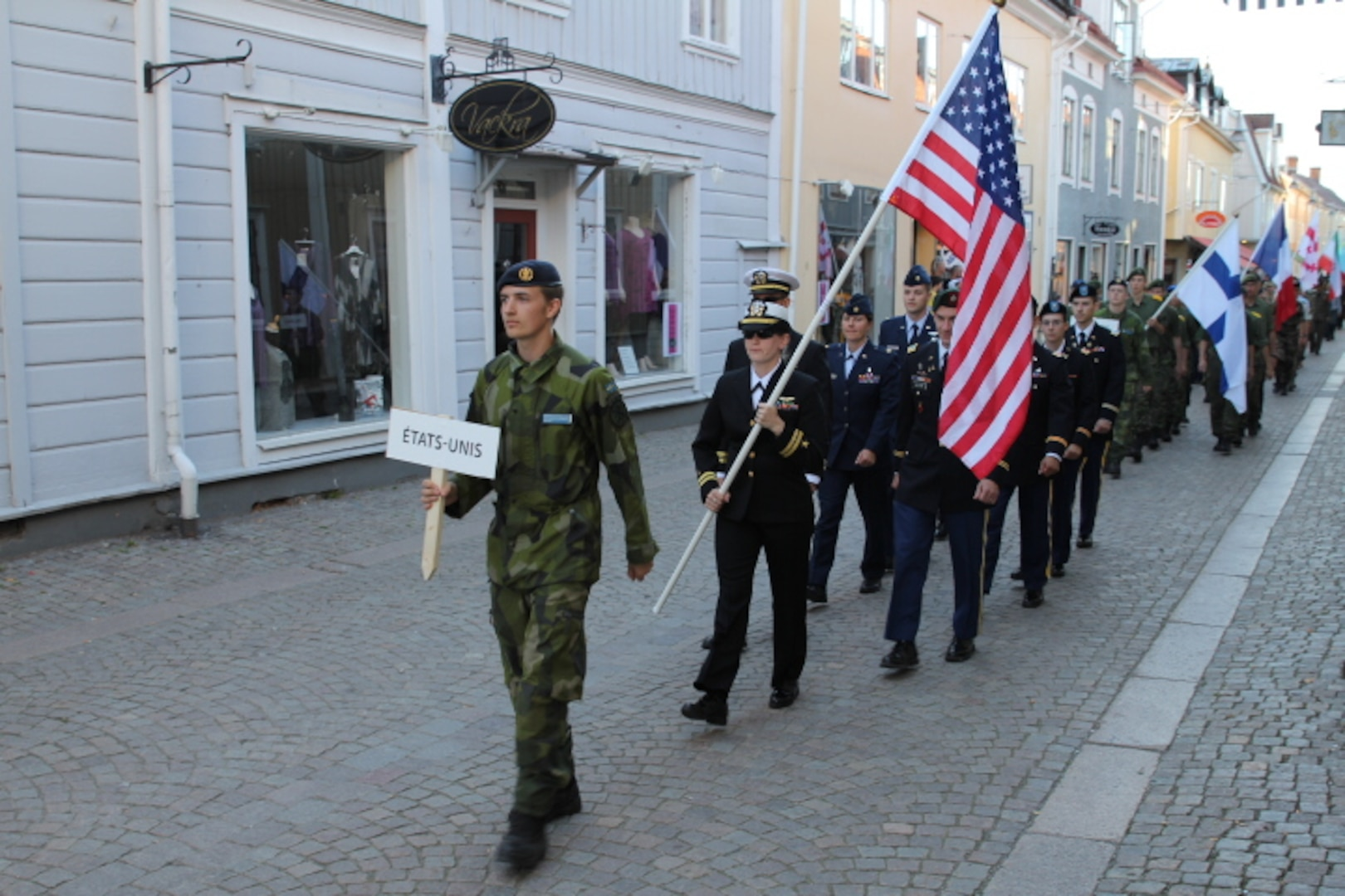 Team USA marches in to the opening ceremony of the 2013 CISM World Orienteering Military Championship hosted by the Swedish Armed Forces in Eksjo, Sweden from 26 August to 1 September.