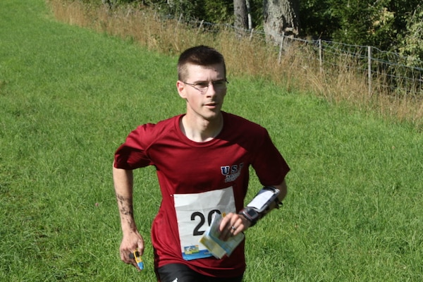 1LT Kevin Culberg (Army)during the middle distance course at the 2013 CISM World Orienteering Military Championship hosted by the Swedish Armed Forces in Eksjo, Sweden from 26 August to 1 September.