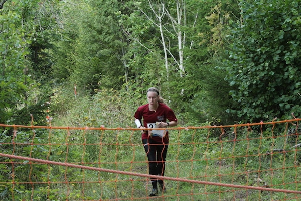 LT Virginia Debons (Navy) at the 2013 CISM World Orienteering Military Championship hosted by the Swedish Armed Forces in Eksjo, Sweden from 26 August to 1 September.