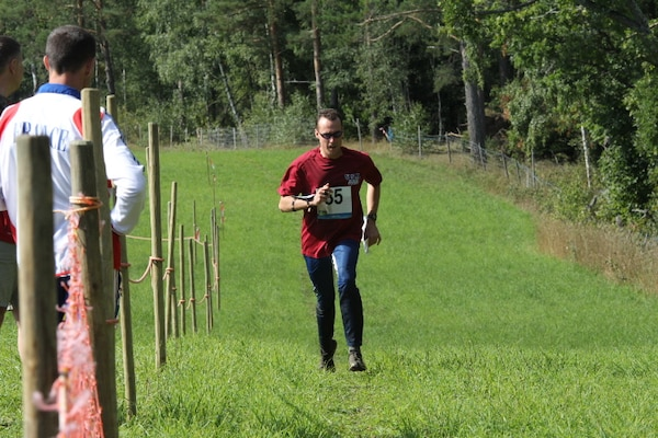 LCDR Jeremy Debons at the 2013 CISM World Orienteering Military Championship hosted by the Swedish Armed Forces in Eksjo, Sweden from 26 August to 1 September.