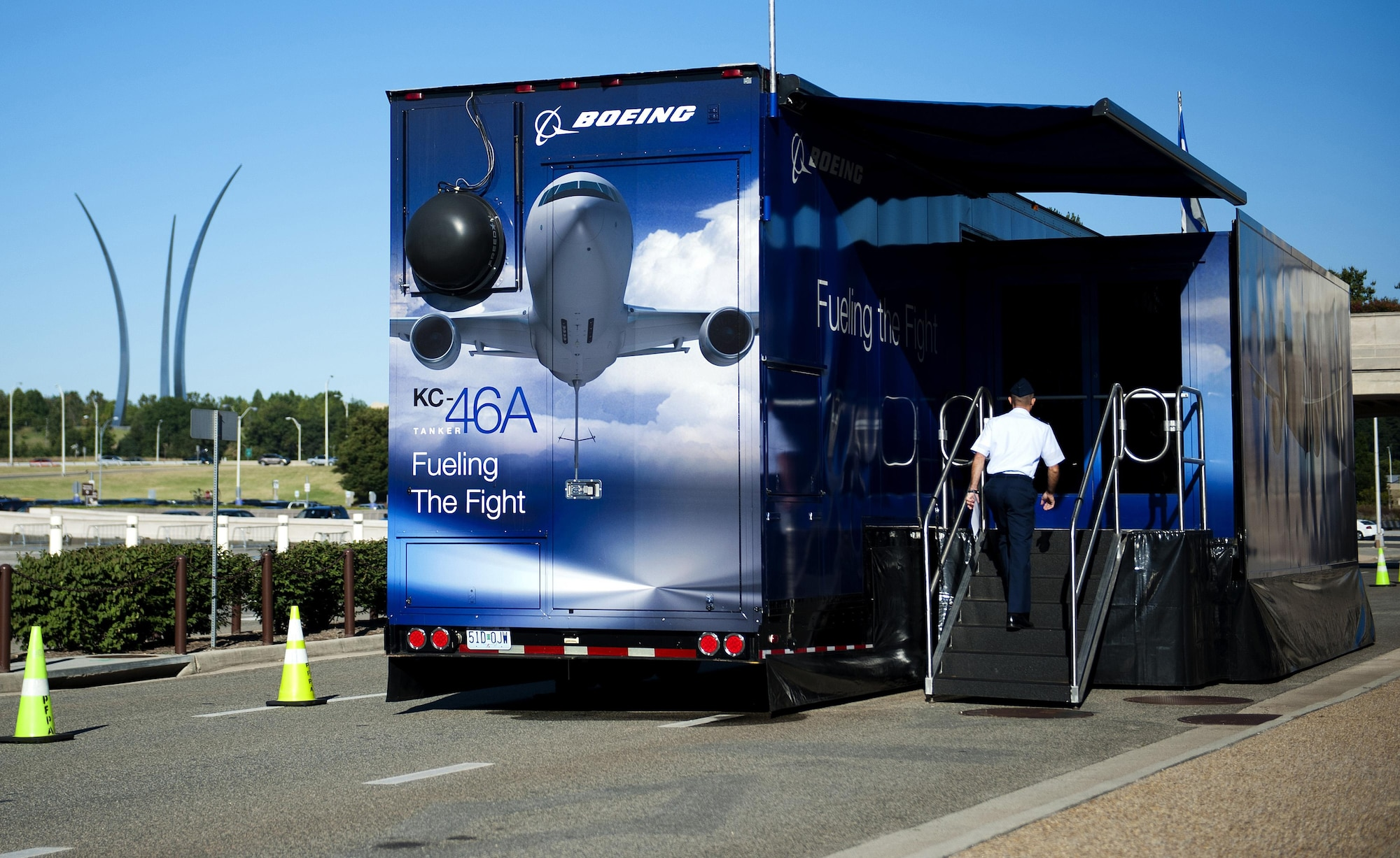 Boeing, the lead contractor for the Air Force's new refueling tanker, brought their simulator to the Pentagon Sept. 4, 2013.  During the visit, Airmen were able to learn about the aircraft and fly the KC-46 simulator.