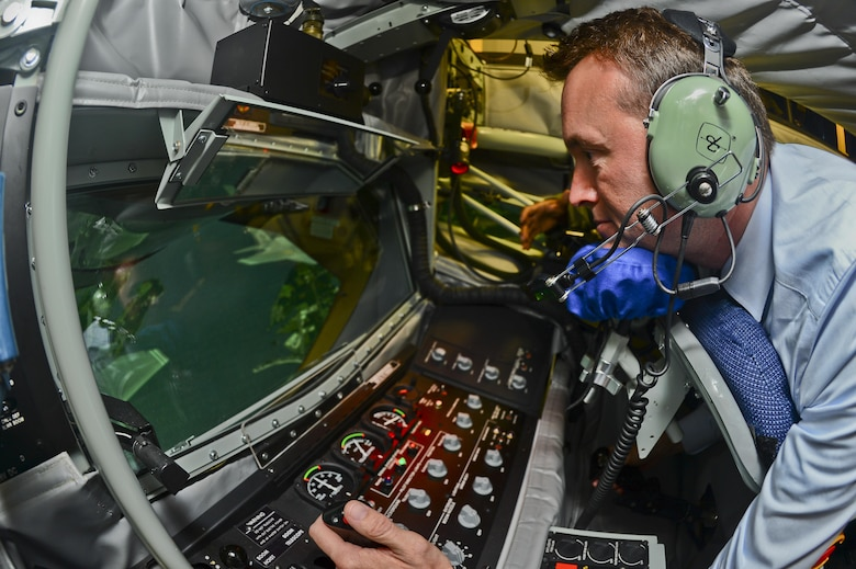 The Acting Secretary of the Air Force Eric Fanning receives lessons on MacDill's Boom Operator Weapon Systems Trainer Aug. 29, 2013, at MacDill Air Force Base, Fla. The BOWST is a fully simulated, large-scale procedural trainer for aerial refueling with replicated aircraft systems, controls, and functions within a complete aircrew boom compartment. (U.S. Air Force photo/Ned T. Johnston)
