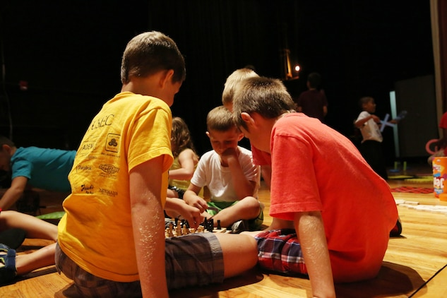 Various games were available for children to play during the Back to School Kids Day hosted by Marine Corps Community Services at the Lasseter Theater, Aug. 24.
