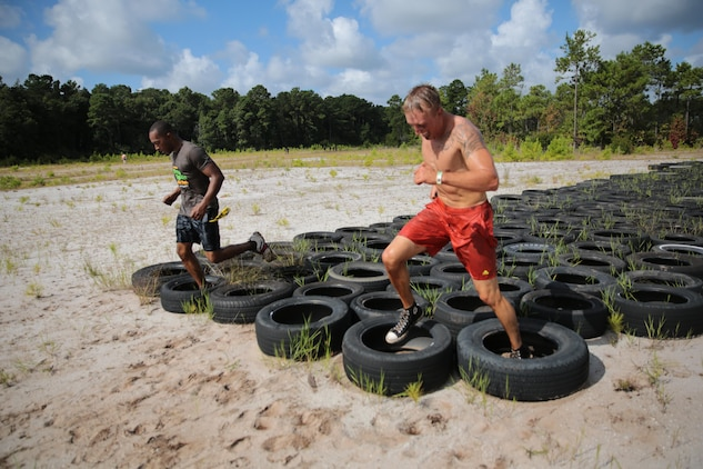 The Single Marine and Sailor Program sponsored a trip to Myrtle Beach for the Dirty Myrtle Mud Run, Aug. 31. Marines were able to test their speed and endurance during the three-mile course filled with a variety of obstacles and mud pits.