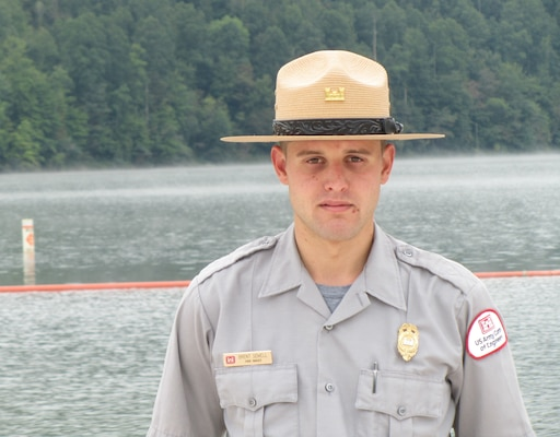 U.S. Army Corps of Engineers Nashville District Park Ranger Brent Sewell rescued a drowning teenager from Martins Fork Lake, Smith, Ky., over the Labor Day weekend. Aaron Ledford, 18, a non-swimmer from Louisville, Ky., attended a family reunion Sept. 1 and entered the water to recover a beach ball. He got into trouble when he released the swimming area's boundary line as he pulled himself out hand-over-hand.