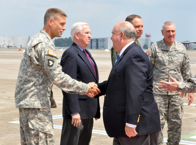 SAVANNAH, Ga. –Under Secretary of the U.S. Army Dr. Joseph W. Westphal shakes hands with Col. Thomas Tickner, commander of the U.S. Army Corps of Engineers Savannah District, upon arriving at Hunter Army Airfield, Sept. 4, 2013. Tickner and his staff briefed the Undersecretary on the Savannah Harbor Expansion Project, followed by a press conference and tour at the Savannah Port.