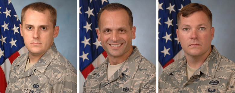 Left to right, U.S. Air Force Master Sgt. Richard Ross, and Tech. Sgts. Dominick Andrews and Tim White, from the 116th Security Forces Squadron, shown in an official photo, Robins Air Force Base, Ga., Sept. 5, 2013. The three Airmen from the 116th Air Control Wing, Georgia Air National Guard, were travelling to McCarran International Airport, Las Vegas, Nev. for pre-deployment training when a passenger passed out and showed no signs of life. Andrews and White performed cardiopulmonary resuscitation on the passenger while Ross assisted a flight attendant with medical supplies. The quick action of the Airmen saved the life of the passenger. (U.S. Air National Guard photo illustration by Master Sgt. Roger Parsons/Released) (This image was created as a photo collage from three separate images)