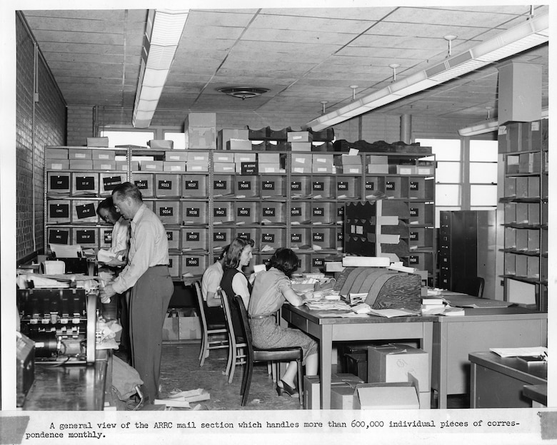 The Air Reserve Records Center mail section at the York Street building, Denver, Colo., in 1954. The mail section handled more than 600,000 individual pieces of correspondence monthly.