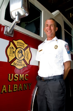 Jack Colby, fire chief, Marine Corps Logistics Base Albany, hung up his uniform Aug. 23 after serving more than 28 years in fire service, 12 of those as fire chief.