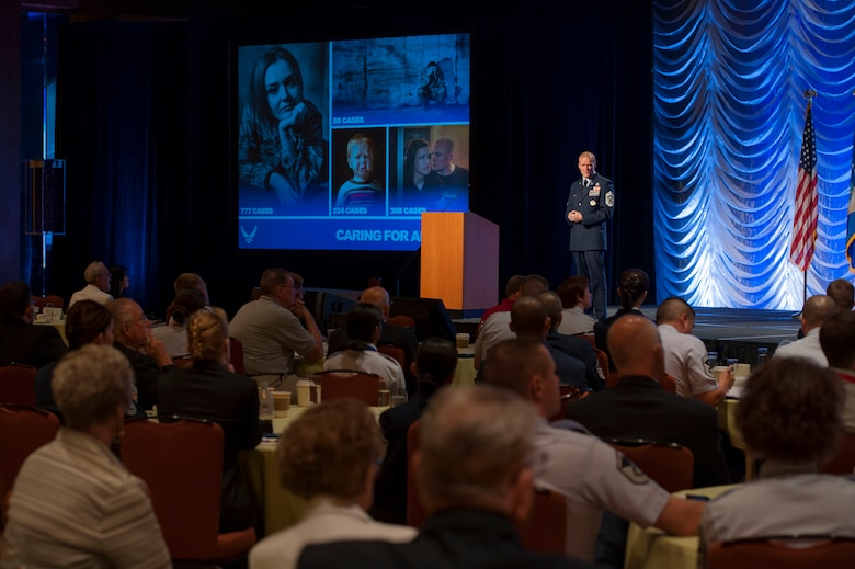 Chief Master Sgt. of the Air Force James A. Cody speaks to the audience of the 2013 Air Force Sergeants Association Professional Airmen's Conference and International Convention Aug. 28, 2013, at the Grand Hyatt in San Antonio, Texas.  Cody was invited to speak during the AFSA senior leader perspective professional development forum.  His presentation focused on the importance of Airmen and the need to continue to develop and care for them during sequestration and budget challenges. (U.S. Air Force photo/Senior Airman DeAndre Curtiss)
