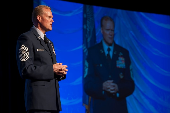 Chief Master Sgt. of the Air Force James A. Cody speaks to the audience during the 2013 Air Force Sergeants Association Professional Airmen's Conference and International Convention Aug. 28, 2013, at the Grand Hyatt in San Antonio, Texas. Cody spoke during the AFSA PACs senior leader perspective professional development forum. (U.S. Air Force photo/Senior Airman DeAndre Curtiss)
