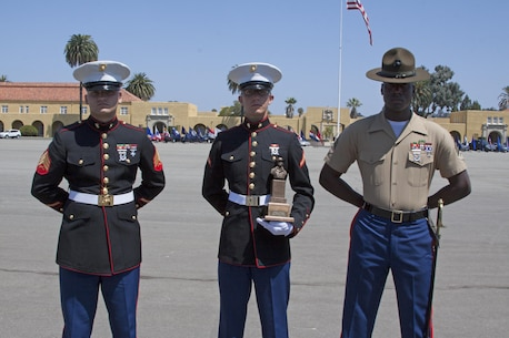 Pfc. Joseph Loseke, honor graduate for India Company, and a Beaverton, Ore., native stands with recruiter Sgt. Nicholas Weber (left) and senior drill instructor Sgt. Cory Hye (right) after graduation at Marine Corps Recruit Depot San Diego, Aug. 16. Loseke was chosen as the company honor graduate because of his leadership skills, 1st class physical fitness test, 1st class combat fitness test and expert rifle score