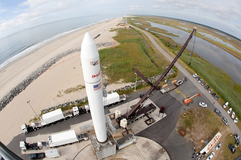 A wide-angle view of an inert Minotaur V launch vehicle is erected on the Mid-Atlantic Regional Spaceport's pad 0B at NASA's Wallops Flight Facility in Virginia during a pathfinder exercise for NASA's Lunar Atmosphere and Dust Environment Explorer (LADEE) Mission.