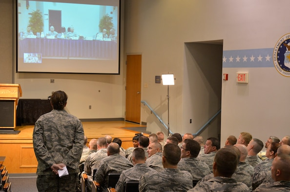 MCGHEE TYSON AIR NATIONAL GUARD BASE, Tenn. - Army Gen. Frank J. Grass, the Chief of the National Guard Bureau (above, on screen), listens to a question from Air Force Senior Master Sgt. Kimberly Bowers Sept. 3, 2013, at the I.G. Brown Training and Education Center. Grass spoke with members of the Army and Air National Guard's two primary training and education centers in person at the LaVern E. Weber Professional Education Center in Little Rock Ark., and via live broadcast here through TEC TV's video tele-training system. (U.S. Air National Guard photo by Master Sgt. Kurt Skoglund/Released)