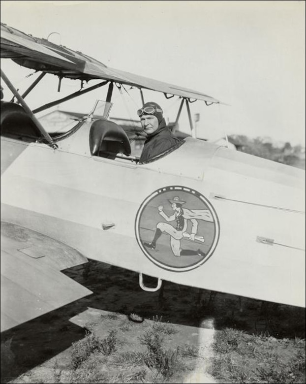 "The late Governor John H. Trumbull, known as the ""Flying Governor"" of Connecticut is pictured at the controls of what is presumed to be an aircraft assigned to the 118th Observation Squadron.  Governor Trumbull's efforts, along with those of others from that period, are credited with successfully securing the first air service unit for the state.  (U.S. Air National Guard file photo)"