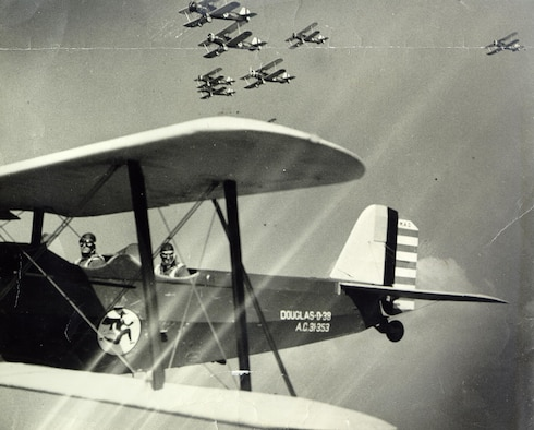 A formation of Douglas 0-38 aircraft emblazoned with the Flying Yankees insignia operated by aviators from the 118th Observation Squadron. The squadron flew the O-38 between 1931—1937. (U.S. Air National Guard file photo)