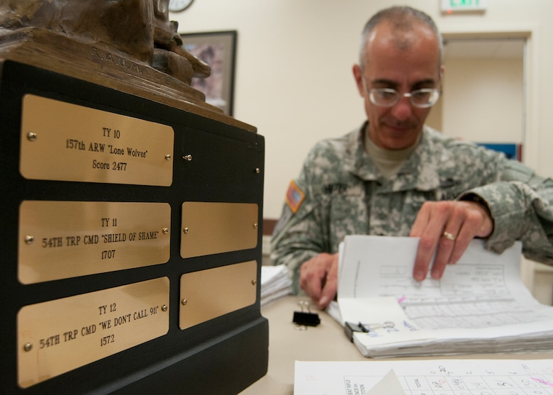 FORT DEVENS, Mass. – New Hampshire Army National Guard Lt. Col. Roy Hunter tallies the scores of competitors during the state marksmanship competition here Aug. 25. High scores for top gun was N.H. Army National Guard Capt. Allen Corey; top combat pistol was N.H. Air National Guard Master Sgt. Michael Bane; top combat rifle was N.H. Army National Guard Allen Corey. (N.H. National Guard photo by Tech. Sgt. Mark Wyatt/Released)