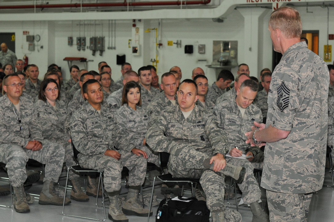 Chief Master Sgt. of the Air Force James A. Cody speaks with Airmen at the 174th Attack Wing, Hancock Field on Sep. 7, 2013. Cody visited Hancock Field to meet with Airmen, get the pulse of the enlisted force and answer any questions. (Photo by New York Air National Guard Tech. Sgt. Justin A. Huett)