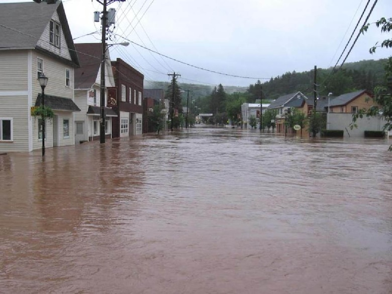 Severe flooding occurred in downtown Rockland, NY in  2006.