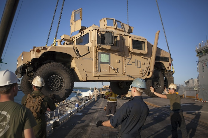 DARWIN, Northern Territory, Australia –Marines with the 31st Marine Expeditionary Unit help guide a High-Mobility, Multi-purpose Wheeled Vehicle onto the USS Bonhomme Richard (LHD- 6) during the  retrograde following Exercise Koolendong 13 here, Sept. 9. The 31st MEU moved a battalion-sized force more than 300 miles inland from the Port of Darwin to conduct a week-long, live-fire training exercise. Also participating in the exercise was were the Marines of Marine Rotational Force – Darwin and soldiers of the 5th Royal Australian Regiment.  The 31st MEU brings what it needs to sustain itself to accomplish the mission or toand pave the way for follow-on forces. The 31st MEU is the Marine Corps' force in readiness for the Asia-Pacific region and the only continuously forward deployed MEU.
