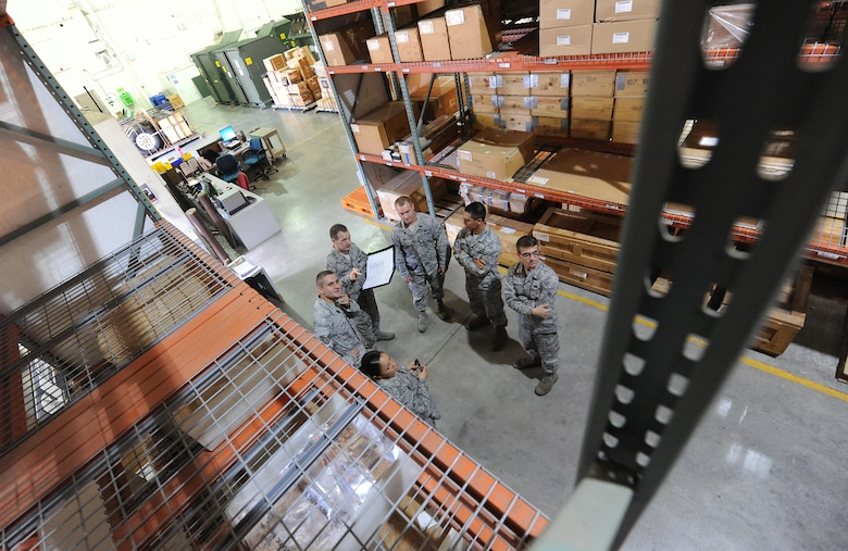 Members of the 509th Logistics Readiness Squadron aircraft part store undergo a training session on safety procedures for pulling parts from shelves at Whiteman Air Force Base, Mo., Aug. 2, 2013. Without the parts these Airmen store, hundreds of Airmen and civilians who provide crucial maintenance to the B-2 Spirit would not have the necessary equipment to accomplish their mission. (U.S. Air Force photo by Staff Sgt. Nick Wilson/Released)