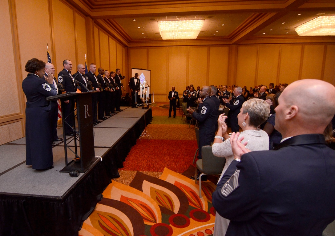 Audience applauds the newly inducted Chiefs' during the official recognition portion of the 2013 Dobbins Chief's Recognition Ceremony held at the Renaissance Waverly Hotel, Atlanta, Ga., Sep. 7. (U.S. Air Force photo/Don Peek)