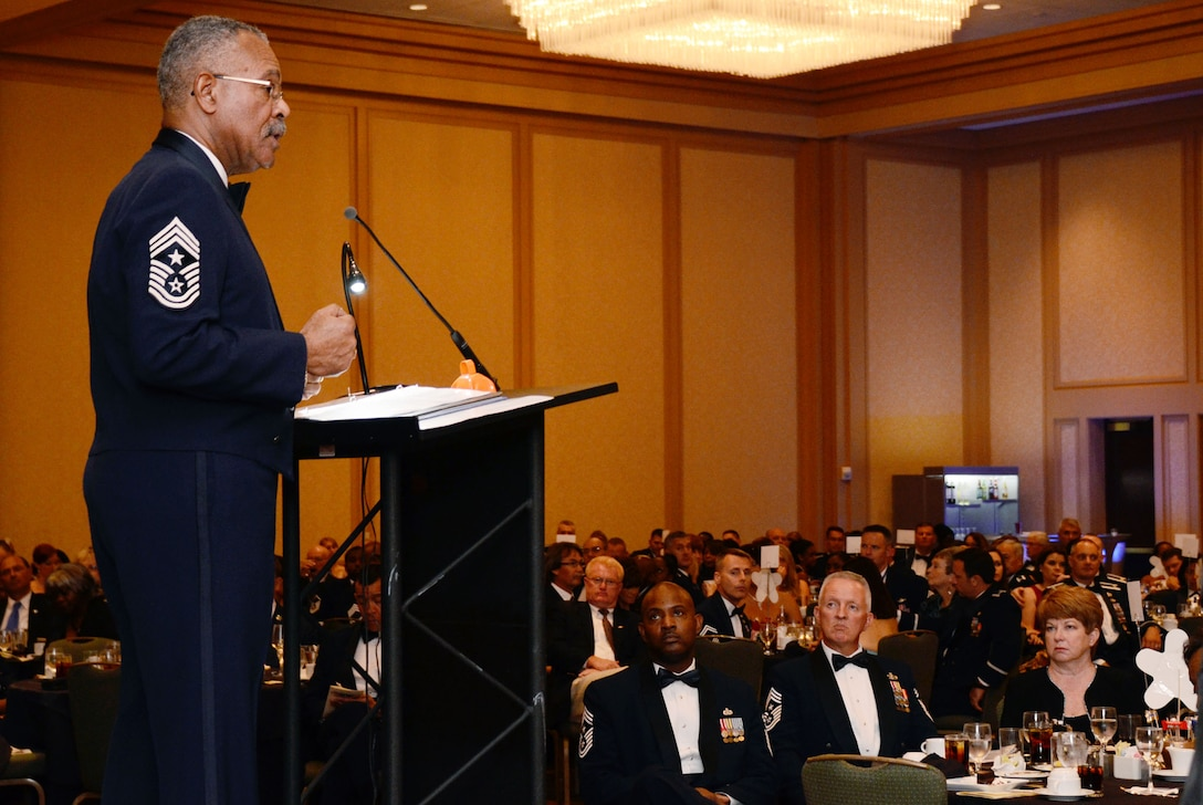 Guest speaker, retired Chief Master Sgt. Jackson A. Winsett, the 12th Command Chief Master Sgt., for the United States Air Force Reserve Command, spoke to a large audience attending the 2013 Dobbins Chief's Recognition Ceremony held at the Renaissance Waverly Hotel, Atlanta, Ga., Sep. 7. Chief Winsett' s long career included the Army, serving in the Republic of Vietnam, United States Air Force Reserve, performing duties in military personnel administration and management, including career advisor, first sergeant, and top enlisted advisor to the commanders at unit, group, wing and numbered Air Force levels. He retired on March 8, 2007. (U.S. Air Force photo/Don Peek)