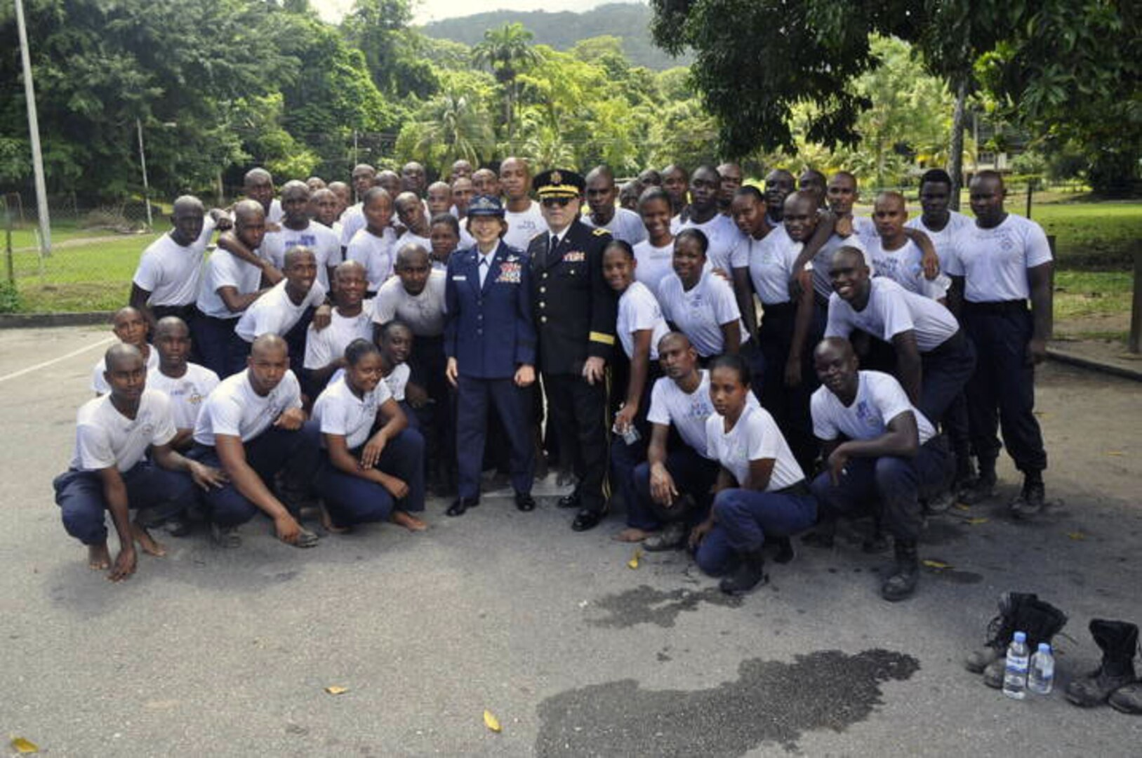 Maj. Gen. Frank Vavala and Brig. Gen. Carol Timmons, Assistant Adjutant General, Air, visit with recruits to the Trinidad and Tobago Air Guard.
