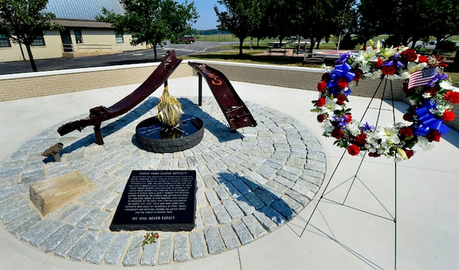 The new Sept. 11 Memorial is shown shortly after the dedication at the Air Mobility Command Museum at Dover Air Force Base, Del., Sept. 11, 2013. The memorial incorporating two pieces of steel from World Trade Center tower one, a rock from the United Airlines Flight 93 crash site and a block from the damaged portion of the Pentagon, was unveiled at the ceremony.