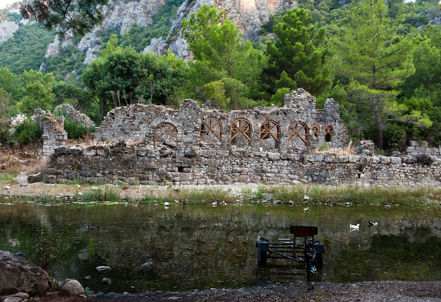 The ruins of the ancient Lycian city of Olympos remain in a river valley near the Mediterranean coast Sept. 2, 2013, near Antalya, Turkey. In 78 BC, the Roman commander Publius Servilius Isauricus and Julius Caesar took the city and added it to the Roman Empire. (U.S. Air Force photo by Senior Airman Daniel Phelps/Released)