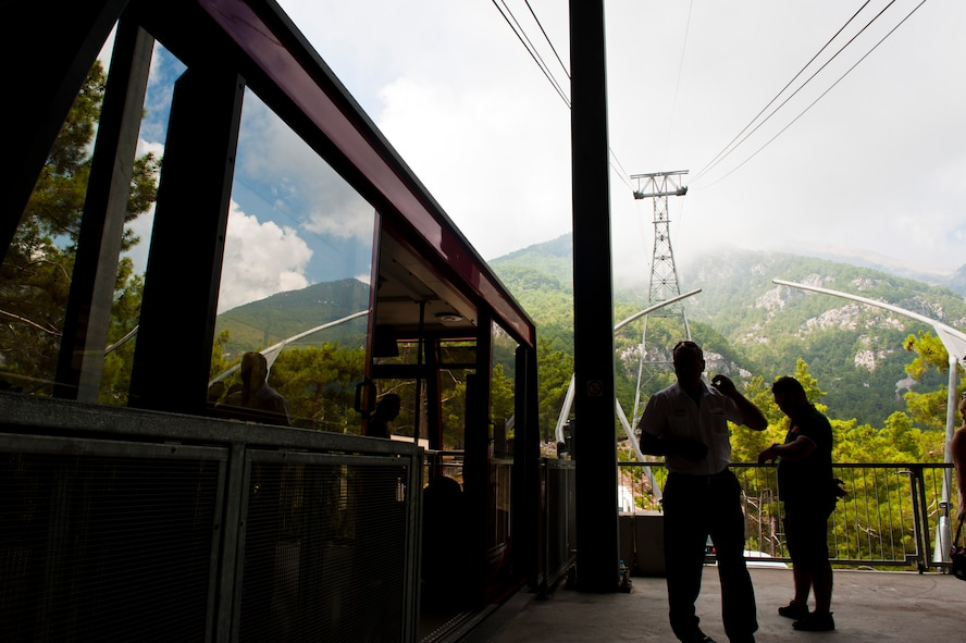 The Olympos cable car waits to take passengers up to the mountain's peak Sept. 1, 2013, near Antalya, Turkey. The peak of Mount Olympos is 2,365 meters, or about 7,858 feet, above sea level. (U.S. Air Force photo by Senior Airman Daniel Phelps/Released)