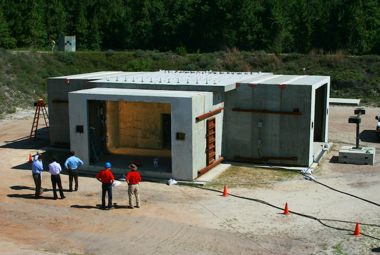 TYNDALL AIR FORCE BASE, Fla. – This blast shelter, previously managed by the Air Force Research Laboratory, is now part of the Air Force Civil Engineer Center's new research and acquisition division. This unique facility is located at the Sky 10 area here, a 23-acre site used for explosive research. (U.S. Air Force photo/Dennis Foth)